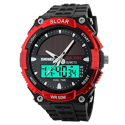 JTTM Reloj Deportivo Energía Solar Reloj De Hombre Digital para Aire Libre A Prueba De Agua 5 ATM, Tiempo Dual Reloj Digital Analógico con Luz del Fondo,Rojo