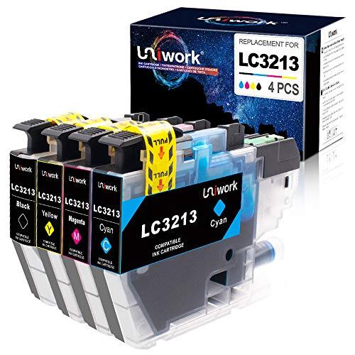 Uniwork LC3213 Cartuchos de Tinta Compatible para Brother LC3213 LC3211 para Brother MFC-J497DW DCP-J572dw DCP-J772DW DCP-J774DW MFC-J890DW MFC-J895DW (1 Negro, 1 Cian, 1 Magenta, 1 Amarillo)
