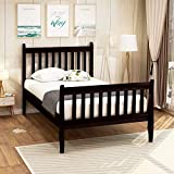 Merax Solid Wood Bed Frame with Headboard and Footboard/No Box Spring Needed/Easy Assembly for Kids Platform, Twin, Black Coffee