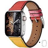 WFEAGL コンパチブル Apple Watch バンド,は本革レザーを使い、iWatch SE、 Series 6/5/4/3/2/1、Sport、Edition向けのバンド交換ストラップです コンパチブル アップルウォッチ バンド (42mm 44mm, イエロー/レッド バンド+シルバー 四角い バックル)