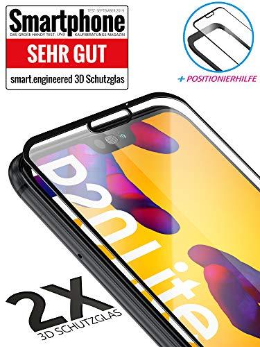 3D Schutzglas 9H Fullscreen [2 Stück] kompatibel mit Huawei P20 Lite [Panzerglas-Folie] Premium Glas-Schutz, Schablone-Installationshilfe, Hartglas, Hüllenfreundlich, volle Abdeckung, Transparent