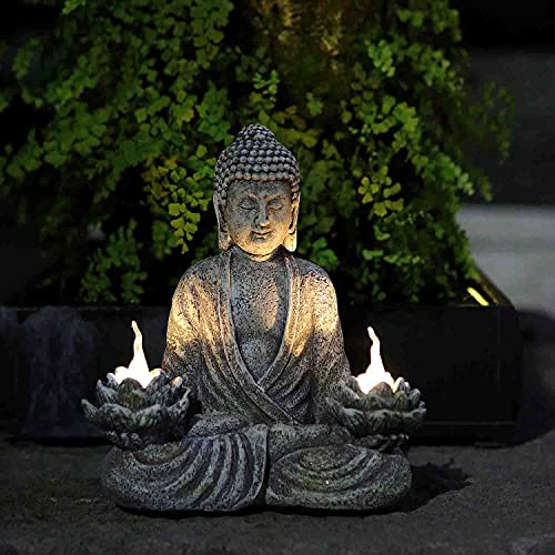 Buddha Decor Statue,Zen Garden Decor with Two Solar Lotus Flowers Lights,Garden Decorations for Patio,Yard,Lawn Ornaments, Backyard or Outside