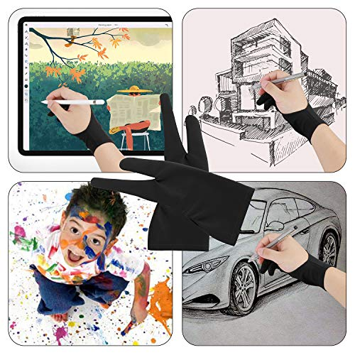 Artist Drawing Tablet Gloves Two Finger Graphics Painting Anti-Fouling Free Size Glove Creative Both Right and Left Hand Reduce Friction Smudge 4 Pack Black Blue