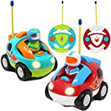 2 Pack Cartoon RC Race Car Radio Remote Control with Music & Sound Toy for Baby, Toddler, Children...