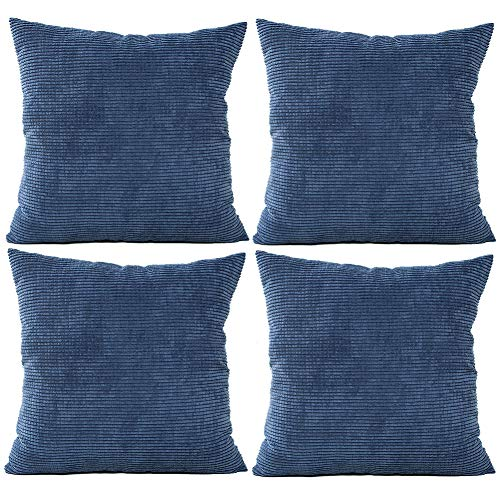 JOTOM Solid Color Corduroy Waist Throw Pillow Case Corn Kernels Soft Cushion Cover for Home Decorative Couch Sofa,45x45cm,Set of 4(Corn Kernels|Dark Blue)