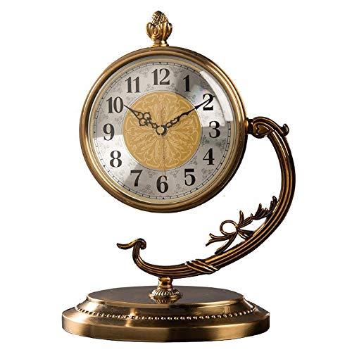 YH Hochwertiges Metall Bronze Desktop-Silent-Retro Antike Uhr Uhr Wohnzimmer Schlafzimmer Arbeitszimmer Copper Tischuhr 24 * 32cm
