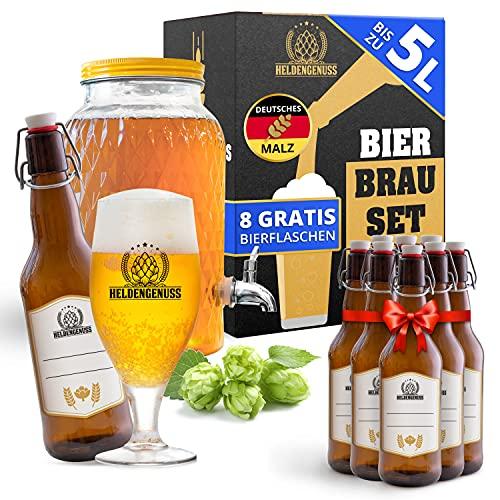 Heldengenuss - 20 Teile - Bierbrauset Pils mit [BRAUERLEBNIS] - 5L Bier Geschenke für Männer - Bier Brauen Set für Zuhause