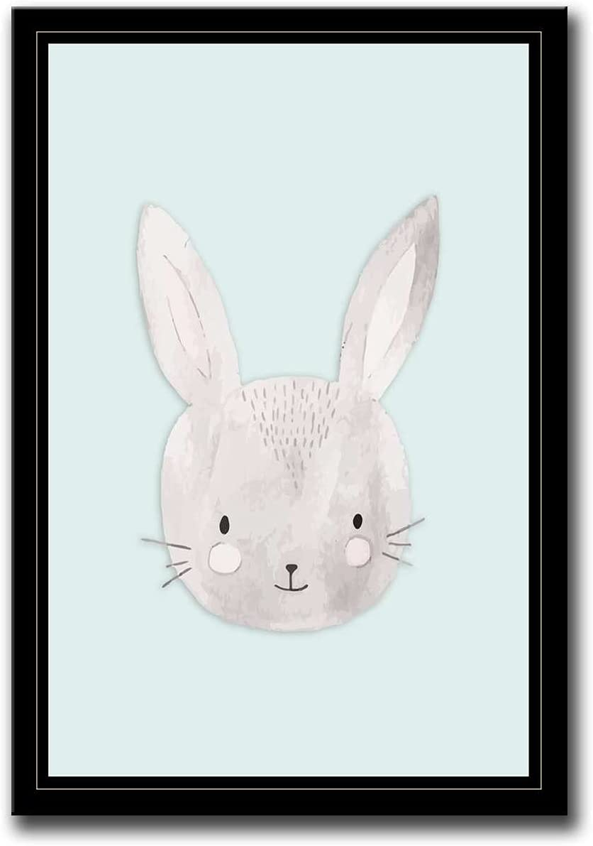 With Frame Baby Blue Rabbit High quality Wall Illustration New color Art Nursery