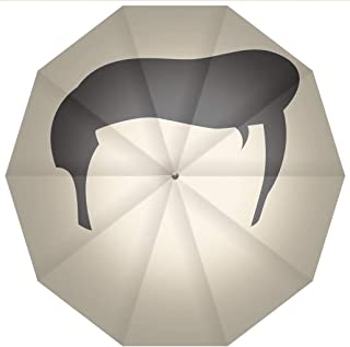 Compact Travel Umbrella UV Protection Auto Open Close Elvis Presley Decor,Simple Graphic of Rockn Roll Kings Hairstyle Cool Iconic Windproof - Waterproof - Men - Women -Lightweight- 45 inches