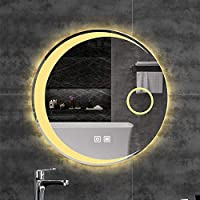 LEDライト、防曇、調整可能なホワイト/ウォームライト付きの丸いバスルームの壁に取り付けられた化粧鏡調光可能なタッチスイッチ(サイズ:80x80cm)