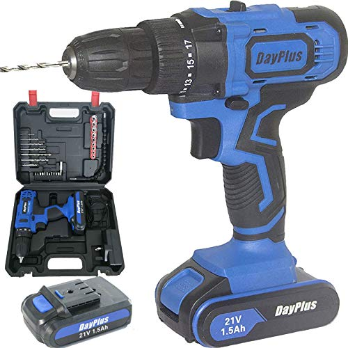 Power Cordless Drill with 2 Li-ion Batteries, Impact Compact 10mm 3/8'Keyless Chuck, LED Work Light, 18+1 Position, Max Torque(45N.m), Dual Speed(0-400/0-1500 RPM), Multi Function Drill Driver