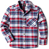 CQR Kids Little Boys Girls Baby Plaid Flannel Shirt Long Sleeve, All-Cotton Soft Brushed Casual Button Down Shirts, Flannel Plaid(lof003) - Red & Blue & White, 18-24_Months