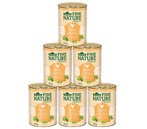 Dehner Fine Nature Hundefutter Adult, Lebensmittelqualität, Huhn, 6 x 400 g (2,4 kg)