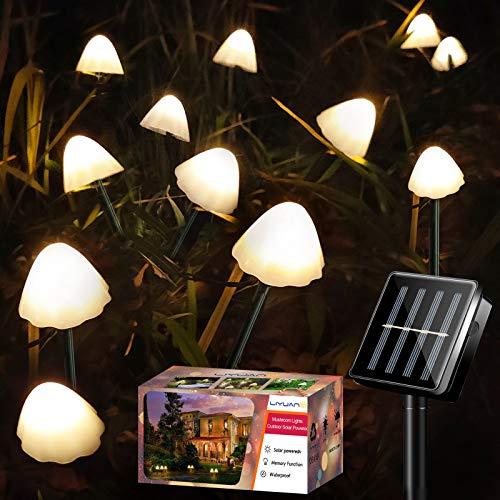 LiyuanQ Solar Garden Lights, 12 LED Mushroom Fairy String Lights Outdoor Waterproof Pathway Solar Stake Mushroom Lamp Decoration for Yard, Patio Gazebo Garden Party Wedding Birthday Festival