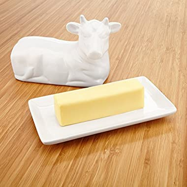 KooK Ceramic Butter Dish with Cover - Cute Cow Design, 7.25 Inch Wide, White