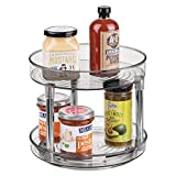 mDesign 2 Tier Lazy Susan Turntable Food Storage Container for Cabinets, Pantry, Fridge, Countertops - Raised Edge, Spinning Organizer for Spices, Condiments - 9