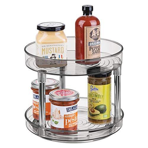 mDesign Especiero giratorio con dos pisos – Práctico estante para especias para los armarios de la cocina o la encimera – Soporte giratorio de plástico para condimentos – gris humo