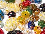 30 piezas Millefiori abalorios, juego de manualidades, ovalado, corazón, estrella, moneda, mezcla de abalorios, abalorios de joyería para niños, óvalo plano, 10mm ~ 18mm