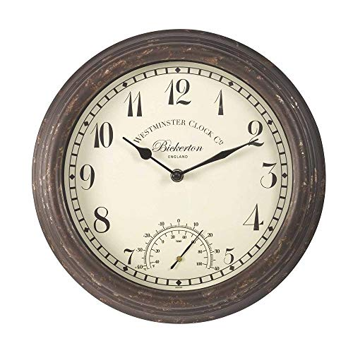 Bickerton Wall Clock and Thermometer, Classic Outdoor/Indoor Design with Large 12 Inch Face. Suitable for Garden, Kitchen, Bathroom and More
