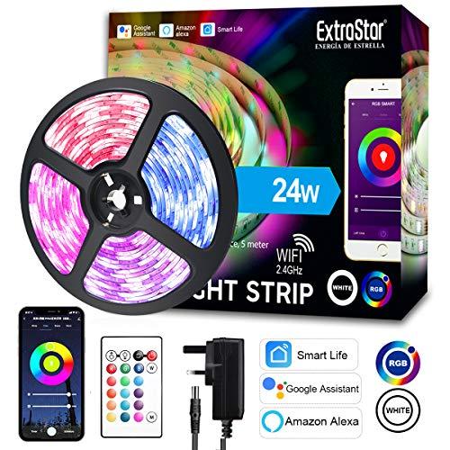 Striscia LED IP65, Smart 5m WiFi RGB Impermeabile SMD, Compatibile con Alexa e Google Assistant, App Controllato Musica, Multicolore per casa, Bar, Festa,12V 1.6A