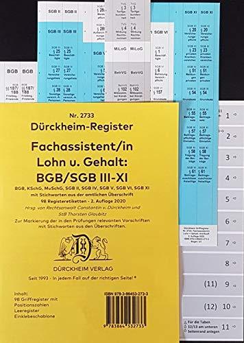 DürckheimRegister - Fachassistent LOHN + GEHALT (ArbR-SGB) Nr. 2733 (2020): 98 Registeretiketten (sog. Griffregister) für das ARBEITS U SOZIALRECHT ... • In jedem Fall auf der richtigen Seite