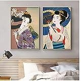 Mmpcpdd Andy - Póster de Geisha japonesa para pared, diseño de kimono vintage, para salón, decoración del hogar, 50 x 75 cm x 2 cm, sin marco