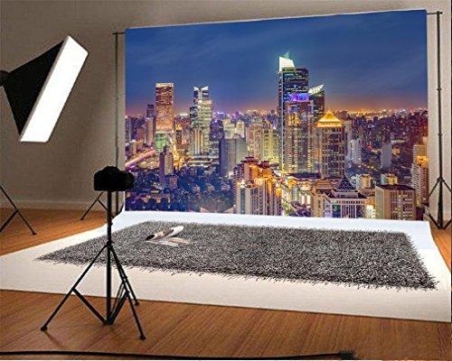 YongFoto 3x2m Fondo de Fotografia Vista Nocturna Ciudad Estadounidense Nueva...