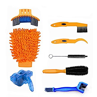 Spotact 8 Pieces Bike Cleaning Brush Kit Multi-Function Combination Bicycle Clean Tools Suitable for Bike Chain, Mountain, Road, City, Hybrid,Folding Bike