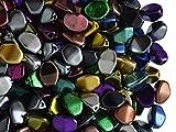 Pinch Bead, 5x3.5mm, 50 piezas, checas prensadas triédrica cuentas de vidrio en la forma de semillas de trigo sarraceno, Mix Metallic