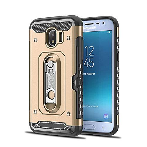 LICHONGGUI Teléfono Protector Funda PC TPU a Prueba de Golpes for Galaxy J2 Pro (2018), con Soporte (Color : Rosegold)