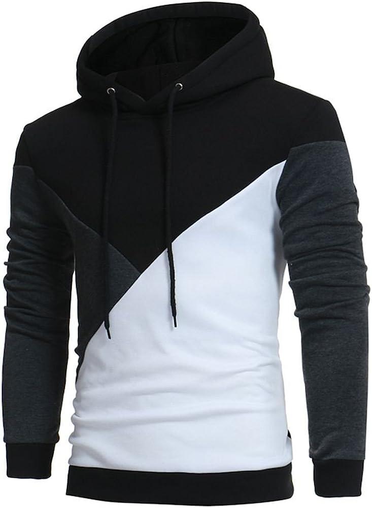F_Gotal Mens Hoodies Lightweight Slim Casual Long Sleeve Patchwork Hooded Pullover Sweatshirts Outwear Jacket Coats