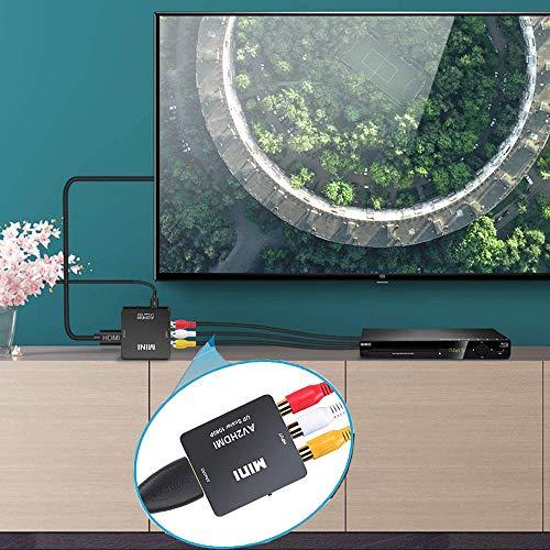 Adaptateur RCA vers HDMI Convertisseur, AV 3RCA vers HDMI Vidéo Audio Convertisseurs, Convertisseur vidéo Mini AV vers HDMI pour PC Xbox PS3 PS2 TV STB VHS Magnétoscope Caméra DVD Nintendo Wii