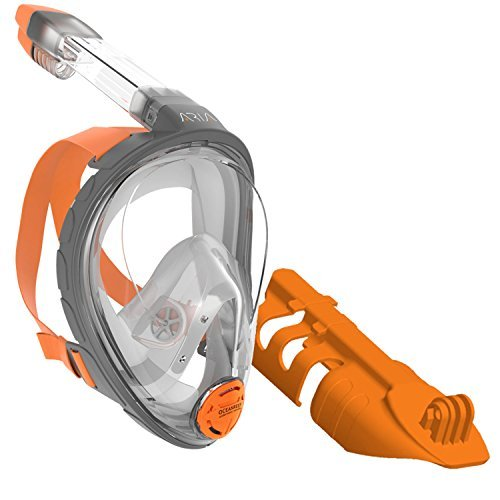 Ocean Reef ARIA Snorkeling Mask Easy Breath Full Face Design, Anti-fog Snorkel (Extra Small) (Orange w/ Camera Support, Extra Small) by Ocean Reef