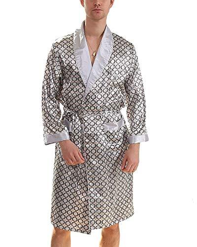 BAIHUODRESS Mens Satin Robe Lightweight Silk SPA Bathrobe Shorts Nightgown Long Sleeve House Kimono Printed Bathrobe Set