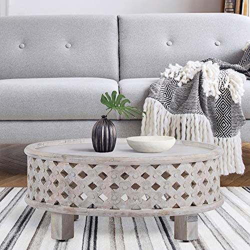 WOMO-DESIGN Orientalischer Couchtisch Napoli Ø75x35 cm rund weiß Massivholz Mangoholz handgeschnitzt Indische Design Vintage Beistelltisch Wohnzimmertisch Sofatisch Loungetisch Tisch für Wohnzimmer