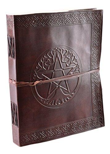 Taccuino con pentacolo, Marrone, ca. 25x 20cm–in vera pelle–Diario–in pelle Libro, mano carta ca. 220pagine–medievale–Vichingo–LARP