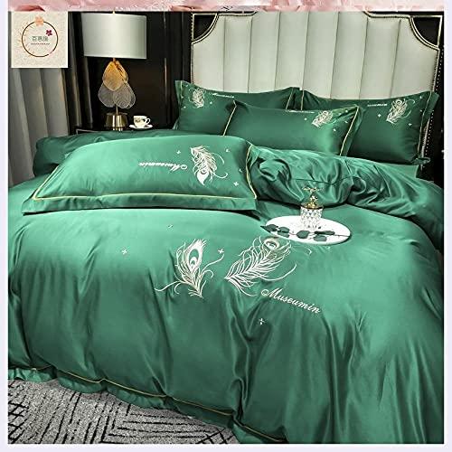 Exlcellexngce Bedding Set Double Bed,Four-Piece Silk Set, Summer Princess Style Silk European Style Bedding Single Double Bed Single Duvet Cover Pillowcase-N_1.8m Bed(4pcs)