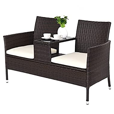 TANGKULA Outdoor Furniture Set Paito Conversation Set with Remoable Cushions & Table Wicker Modern Sofas for Garden Lawn Backyard Outdoor Chat Set (loveseat Style)