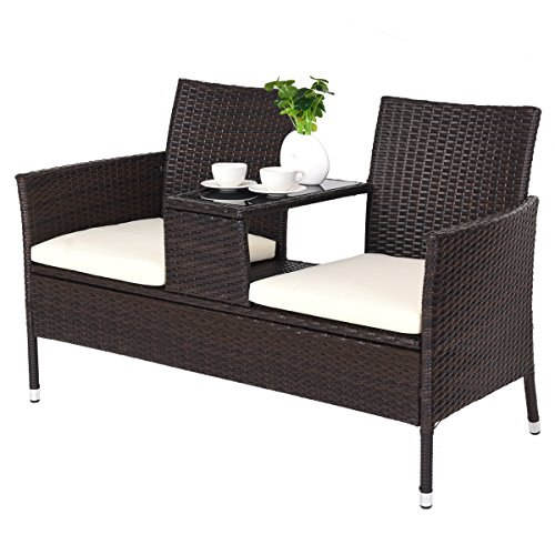 CASART Rattan Double Seat Chair with Glass-topped Tea Table and 2 Detachable Cushions Seat, Outdoor Indoor Wicker Loveseat Furniture Set, Garden Patio Backyard Conversation Bench Chairs