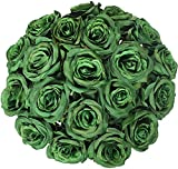 JUSTOYOU 10 PCS Artificial Roses Flowers, Realistic Blossom Roses, Real Touch Silk Rose, Single Fake Flower Long Stem Bouquets for Home Wedding Party Decoration (10Pcs, Green)