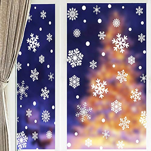 UGY 90 Pcs Christmas Decoration Snowflakes Window Clings Reusable Winter Stickers White Wonderland Decals Ornaments Holiday Party Supplies