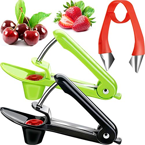 2 Pieces Cherry Pitter Remover Handheld Cherry Pitter Stoner and Strawberry Stem Remover Strawberry Huller for Cherry Strawberry Tomato Pineapple and more Fruits