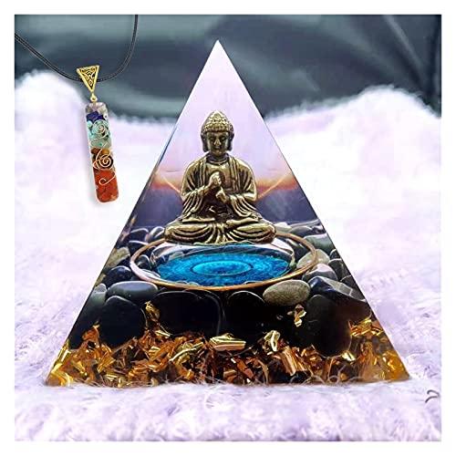 HCHL Pirámide de orgonita, Decoración del hogar de la Estatua de la Estatua de la Estatua de Bronce de la obsidiana de 60 mm El Juego de pirámide de Cristal con generador de e