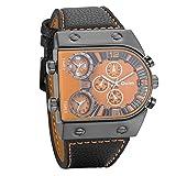 Avaner Grande Reloj Deportivo Militar para Hombre 3 Zonas de Horario Diferente, Reloj de Piloto Correa de Cuero Cuarzo Analogico, Diseño Llamativo Original (modelo8)