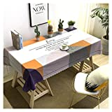 GUOCU PVC Mantel Antimanchas Impermeable Fáciles de Limpiar Decoración del Hogar Rectangular Mantel de Mesa para Comedor Fiesta Cocina Geométrico 135 * 135