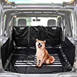 LE-JX Black-US Flag Hammock Style Dog Car Seat Cover Compatible with 2007-2019 Jeep Wrangler JK JKU 4-Door, Pet Trunk Liner Mat Cover,Multipurpose Storage Case Cargo Cover (Non-Slip/Waterproof)