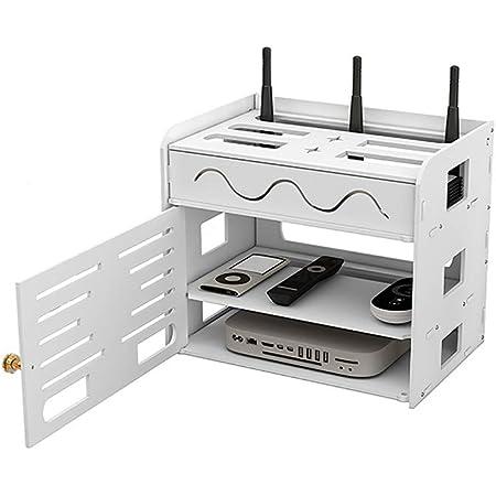 Phonleya WiFi Router Organizar Caja Decodificador Rack Panel de Conexión Estante de Almacenamiento Ocultador Cable Gestión Contenedor Caja de Almacenamiento para Escritorio