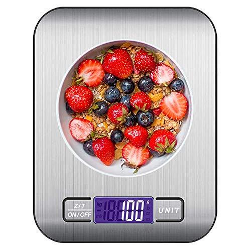 Báscula de Cocina Digital, 10kg de Acero Inoxidable 22lbs, Balanza Cocina de Alta Precisión Peso Cocina con Pantalla LCD, Función de Tara, pesar Frutas,Granos,Carne u Líquido Plata