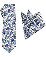 Mens Charm Floral Cotton Tie Set : Necktie with Pocket Square - Wedding - Gift Sets-Various Colors (Dusty Blue with Turquoise and Orchid)