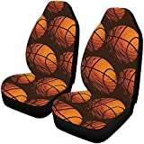 Zseeda Sport Basketball Seamless Pattern Fundas para Asientos automáticos Juego Completo de 2, Fundas para Asientos de automóvil Asientos Delanteros Solo Ajuste Universal